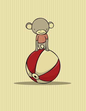 the acrobatics: tarjeta de mono lindo Vectores