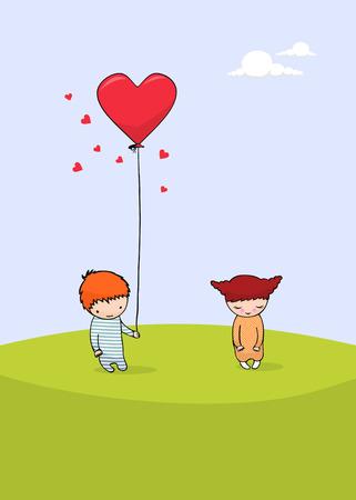parejas romanticas: tarjeta lindo día de San Valentín
