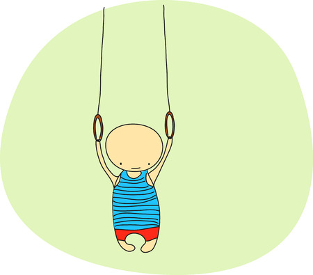 gymnast: cute doodle gymnast on still rings