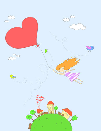 girl flying with a heart-shaped balloon Illustration