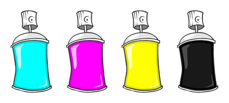 paint cans: cmyk spray cans Illustration