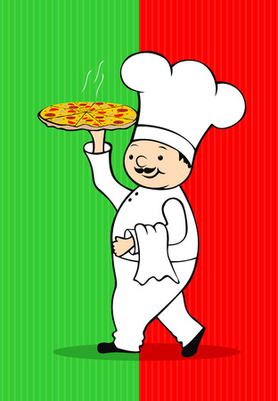 Chef with pizza Stock Vector - 8825446