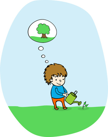 watering: Plant a tree Illustration