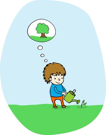 watering: Plant een boom Stock Illustratie