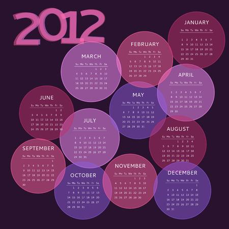 2012 calendar, week starts on Sunday Vector