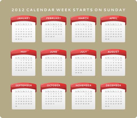 2012 calendar, week starts on Sunday Stock Vector - 8977916