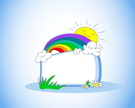 rainbow clouds: Cute cartoon frame Illustration