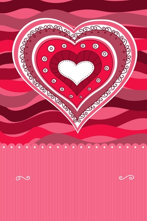 Doodle heart card Vector