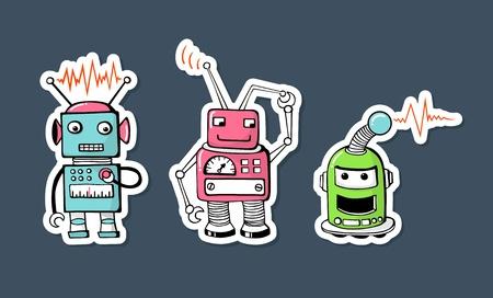 alien cool: cute robots sticker Illustration
