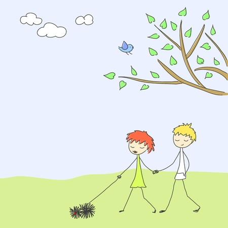 Cute couple walking a puli Vector