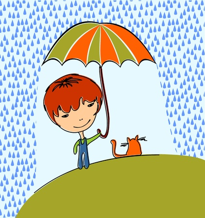 Boy with cat in the rain Vector