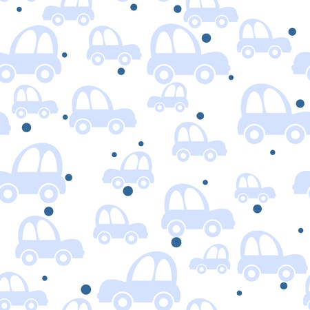 Seamless toy car background for baby boys Vector