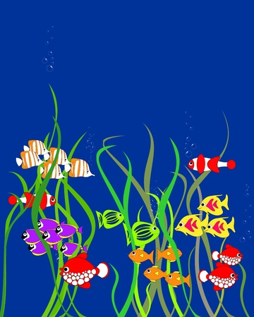 Colorful cartoon fishes Vector