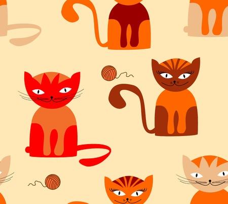 Seamless cartoon cat pattern Vector