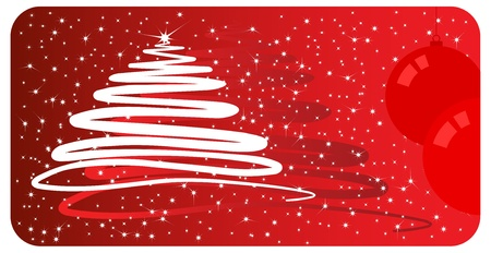 postcard background: Red Christmas card with a stylized Christmas tree and balls