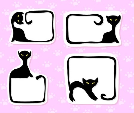 Collection of black cartoon cats stickers with space for your text Stock Vector - 9417988