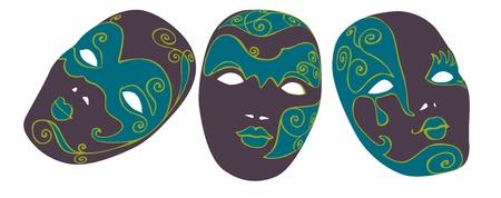 Set of three carnival masks. Vector
