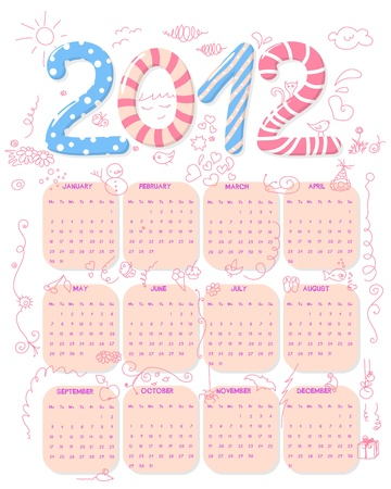 Cute, girly 2012 calendar with doodles. Week starts on Monday Vector
