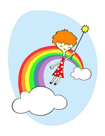 arcoiris caricatura: Linda hadas volando sobre el arco iris
