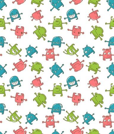 pattern monster: Seamless pattern con mostri carini