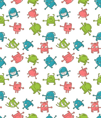 Seamless pattern with cute monsters