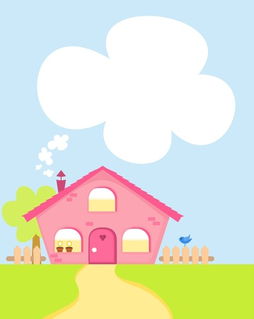 Cute girly pink cartoon house with space for your text