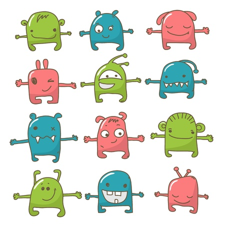Collection of 12 cute monsters doodle Vector