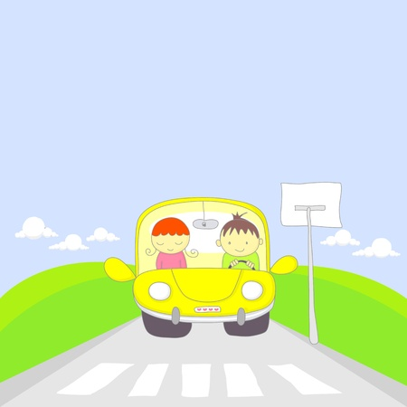 senda peatonal: Linda caricatura de un par de viajar en coche