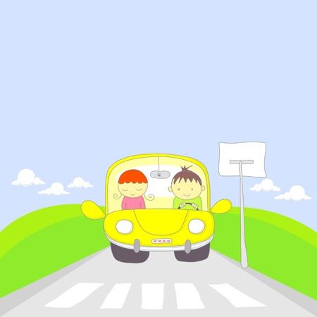 passage pi�ton: Mignon de bande dessin�e d'un couple voyageant en voiture