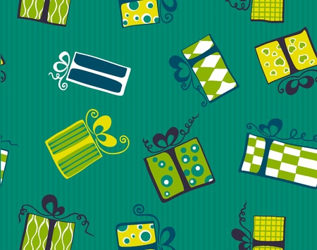 Seamless pattern with colorful cartoon gift boxes. Vector