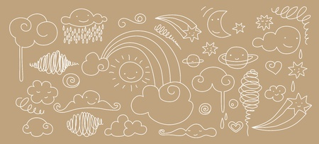 Cute doodle of sky elements: sun, moon, clouds, stars and rainbow. Vector