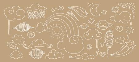 zon en maan: Schattig doodle van hemel elementen: zon, maan, wolken, sterren en regenboog. Stock Illustratie