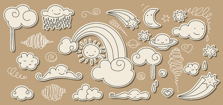 Cute doodle of sky elements: sun, moon, clouds, stars, rainbow. Vector