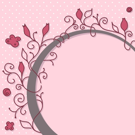 feminine background: Cute girly floral frame with space for your message.
