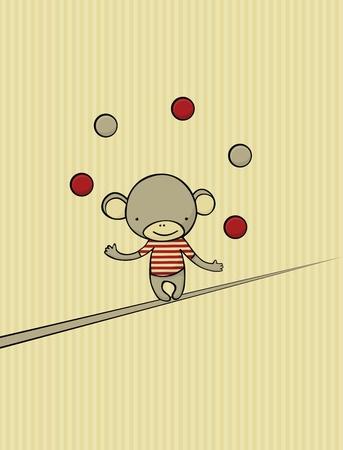 Carte vintage avec cute singe jongler avec 5 balles en marchant sur la corde. Banque d'images - 9735353