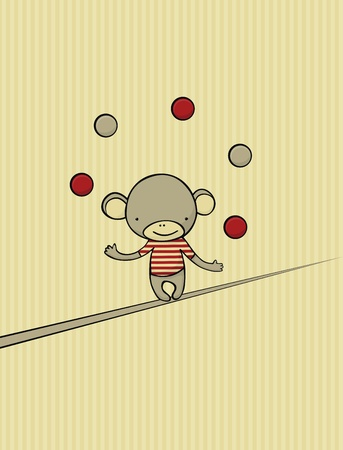 Vintage card with cute monkey juggling with 5 balls while walking on rope. Vector