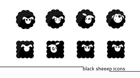 zwart schaap: acht ronde en vierkante zwarte schapen pictogrammen Stock Illustratie
