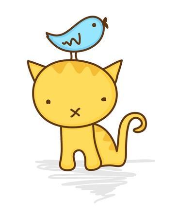 Cute illustration of a bird sitting on a cat's head