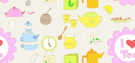 Seamless doodle with tea related elements. Vector