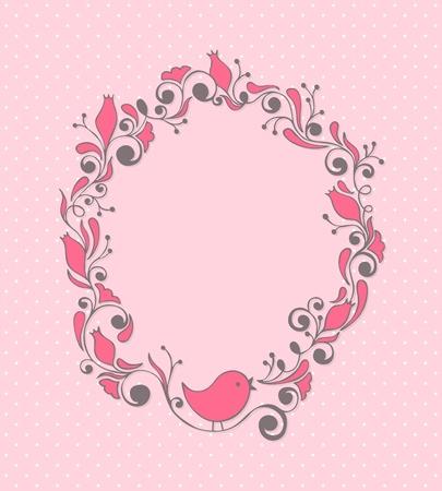 Mignon girly cadre floral avec bird Banque d'images - 9833601