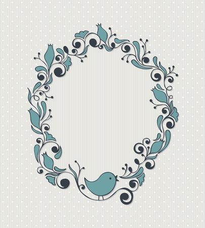 Cute girly floral frame with bird