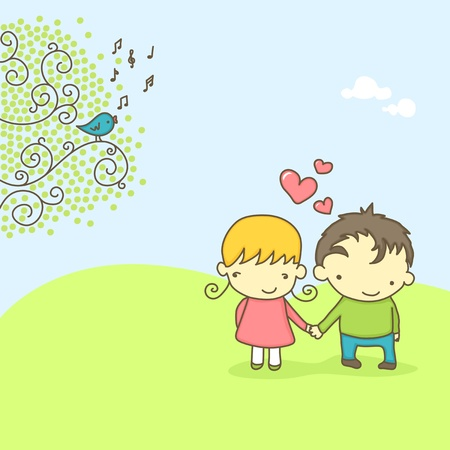 Spring scene with cute couple in love and bird singing. Vector