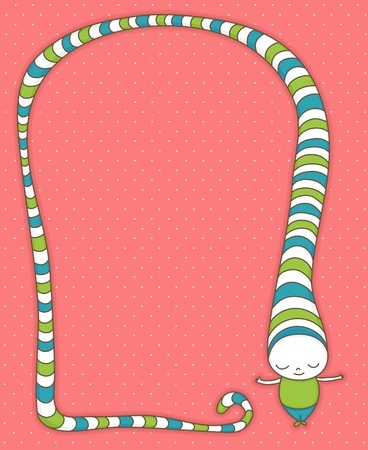 Cute cartoon character with long, striped hat. Vector