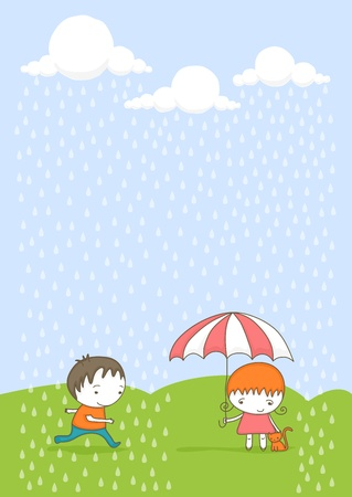 Cute girl with her cat under umbrella and boy running from the rain.