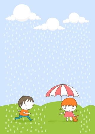 sotto la pioggia: Cute ragazza con il suo gatto sotto l'ombrello e il ragazzo che va dalla pioggia. Vettoriali