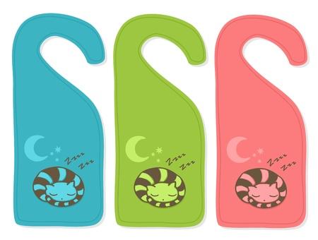 소요: Cute door hanger with sleeping cat, three color versions. 일러스트