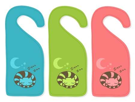 Cute door hanger with sleeping cat, three color versions. Vector