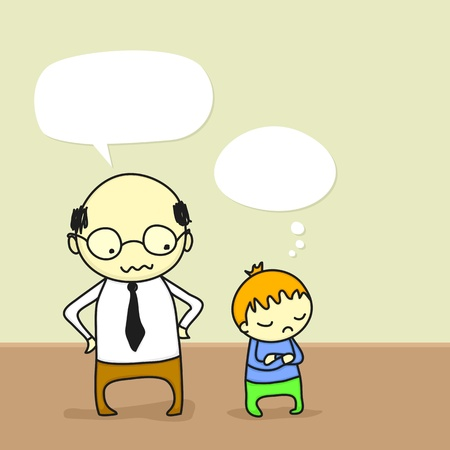 nasty: Cartoon of a father arguing with his stubborn son. Illustration