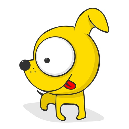 Cute and funny cartoon dog with huge eyes.