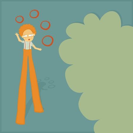 stilt: Vintage card for kids with stilt walker juggler.